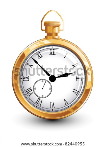 Old gold watch - stock vector