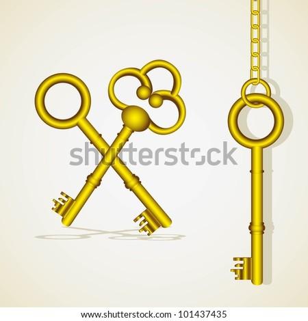 old golden key dangling chain links - stock vector