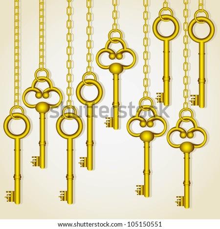 old golden keys dangling chain links - stock vector