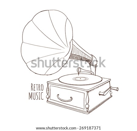Old gramophone. Vinyl. Retro illustration. Sketch. Hand drawn - stock vector