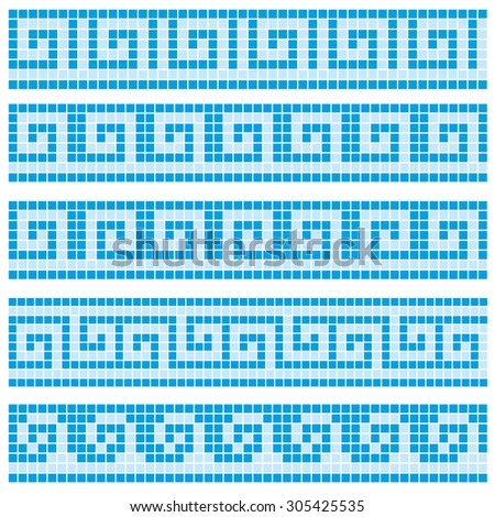 Old greek mosaic border designs - stock vector