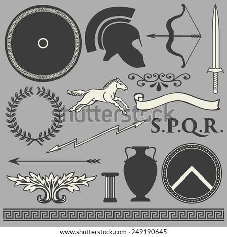 Old greek roman spartan set icons - stock vector