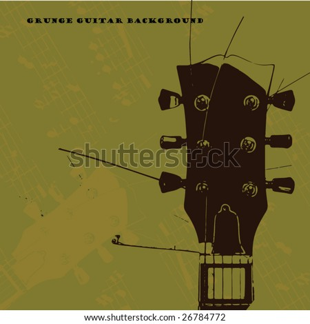 old grunge guitar - stock vector