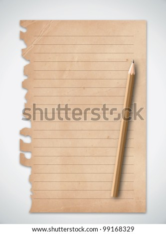 Old Grunge Paper with Pencil Vector - stock vector