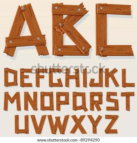 Old Grunge Wooden Alphabet, vector set with all Letters, ready for your Text Message, Title or Logos Design
