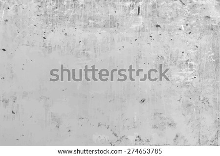 old grungy texture, grey concrete wall, vector - stock vector