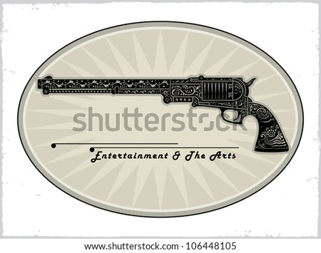 old gun original drawing - stock vector