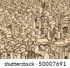 Old hand-drawn detail town - stock vector