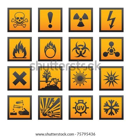 Old hazard symbols - stock vector