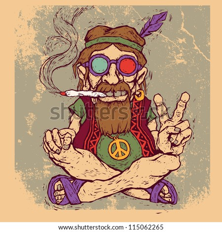 old hippie smokes marijuana and shows the peace symbol. color version. vector illustration - stock vector