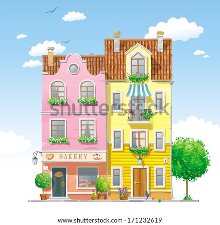 Old historical houses at the city street with summer trees and flowers - stock vector