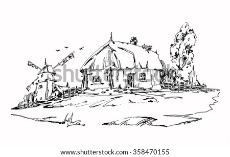 Old house and windmill. graphic design gel pen. Adult Coloring Books - stock vector