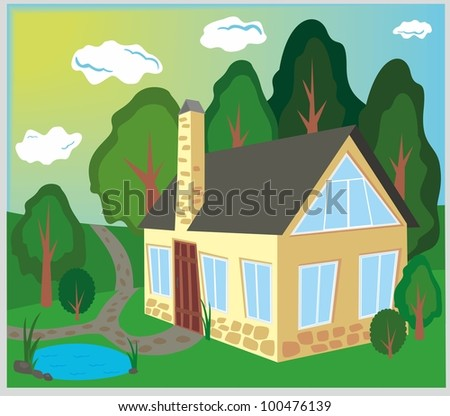 old house in the wood - stock vector