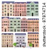 Old houses on the european street - stock vector