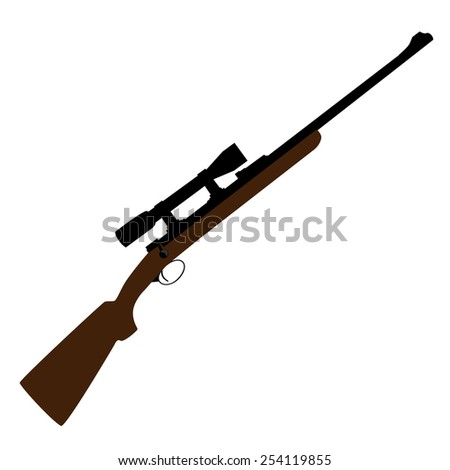 Old hunting rifle with sight vector, sniper rifle, shotgun shooting, military weapon - stock vector