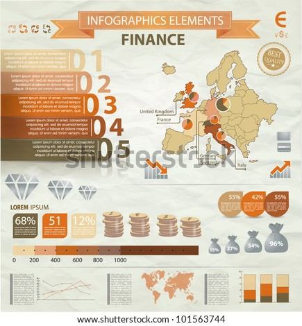Old infographics set. Europe Map and Information Graphics with finance icons. Easy to edit