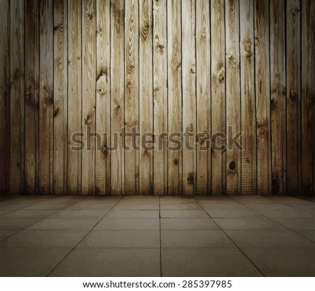 old interior with wooden wall and tiled floor, vintage background, vector