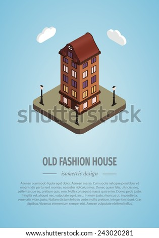 Old isometric house made in vector eps 10 - stock vector