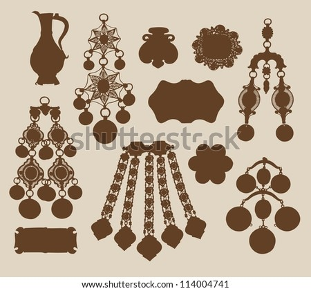 Old jewelery and treasures silhouettes |  Vintage eastern jewelery museum exhibits |  EPS8 vector