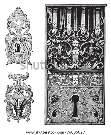 Old keyhole collection / vintage illustration from Meyers Konversations-Lexikon 1897 - stock vector