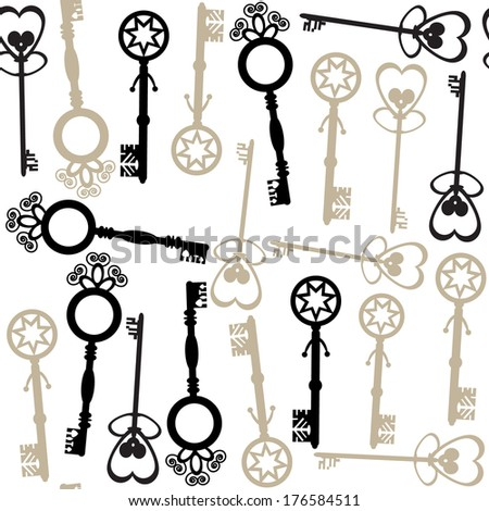 Old keys seamless pattern and seamless pattern in swatch menu. Georgeous background and cover