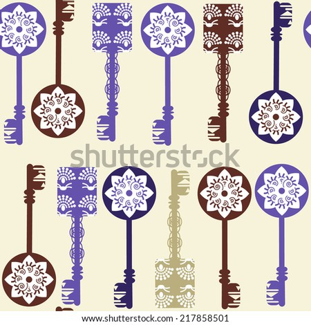Old keys seamless pattern and seamless pattern in swatch menu, vector image for design fabric, surface texture and other purposes