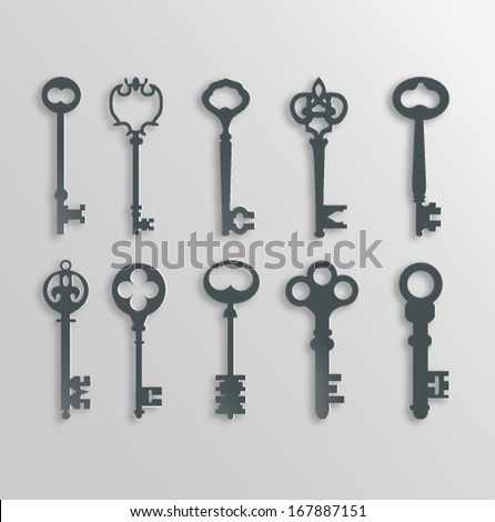 Old keys silhouettes set vector version - stock vector