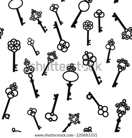 Old keys with decorative elements in retro style. Seamless pattern. Vector illustration  - stock vector