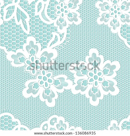 Old lace background, ornamental flowers. Vector realistic texture. Seamless pattern. Eps 8 - stock vector