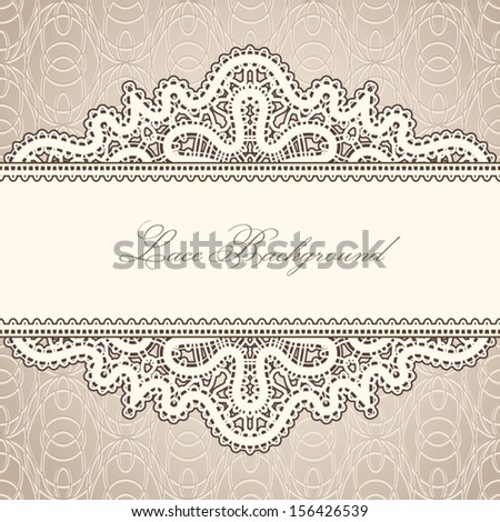 Old lace background, vintage lacework ornament, horizontal vector label template