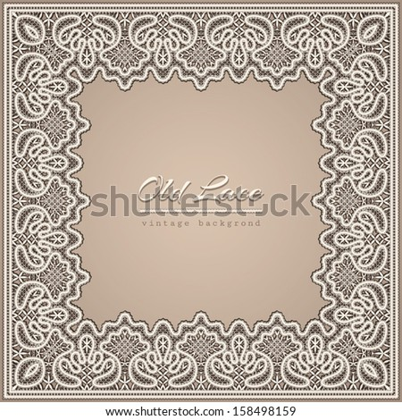 Old lace background, vintage vector frame - stock vector