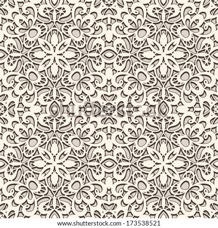 Old lace texture, vintage background, seamless vector pattern - stock vector