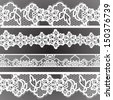 Old lacy borders, ornamental flowers. Vector realistic texture. Seamless decoration frames. Eps 8 - stock