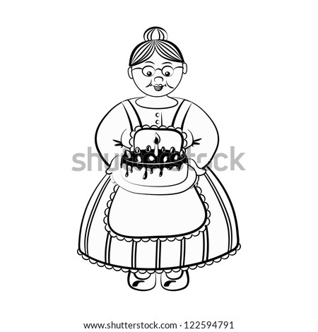 Old Lady Carry Birthday Cake Chocolate Stock Vector 122594791 ...