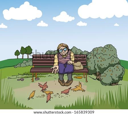 Old lady feeding birds in a park, vector illustration - stock vector