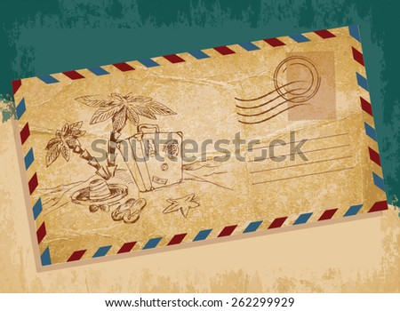 Old letter envelope  with hand-drawn palm - stock vector