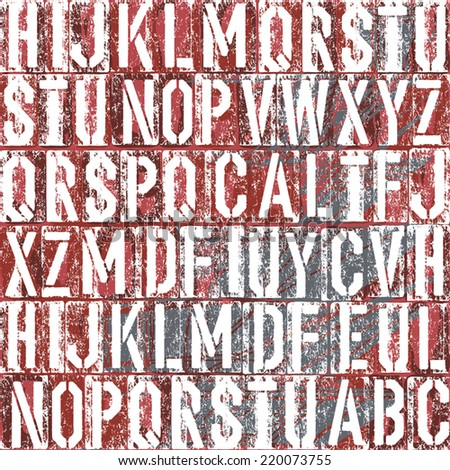 Old letterpress type background, vector - stock vector