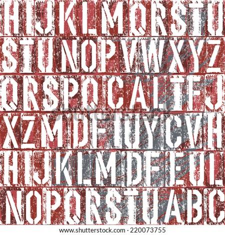 Old letterpress type background, vector - stock vector
