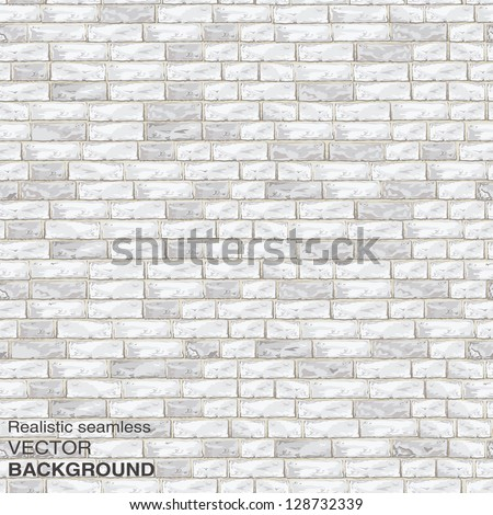 Old light brick wall. Seamless vector texture for continuous replicate - stock vector