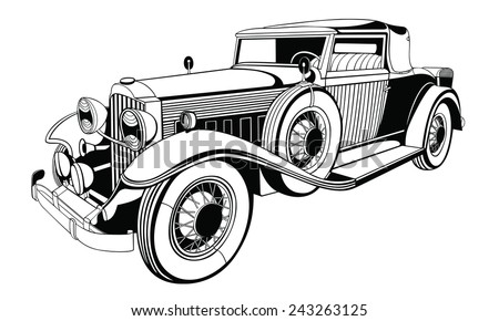 old limousine on white for design