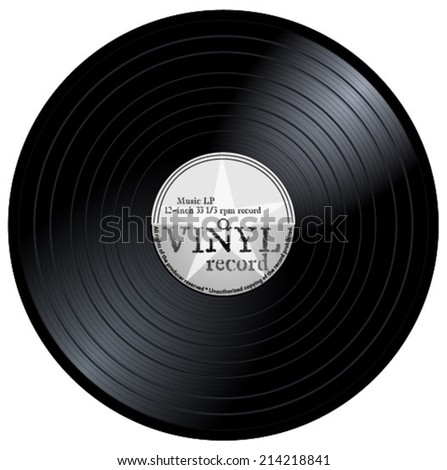 Old lp with black and light and dark grey label. music vinyl musical record with star and text, eps10 vector art image illustration, retro design. isolated on white background - stock vector