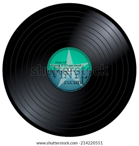 Old lp with blue and green label. 33 rpm music vinyl musical record with star and text, eps10 vector art image illustration, retro design. isolated on white background - stock vector