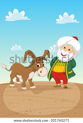 Old Man and Donkey Vector Illustration - stock vector