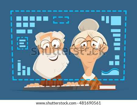 Old man and woman sitting in front of the computer monitor. Online people education concept.