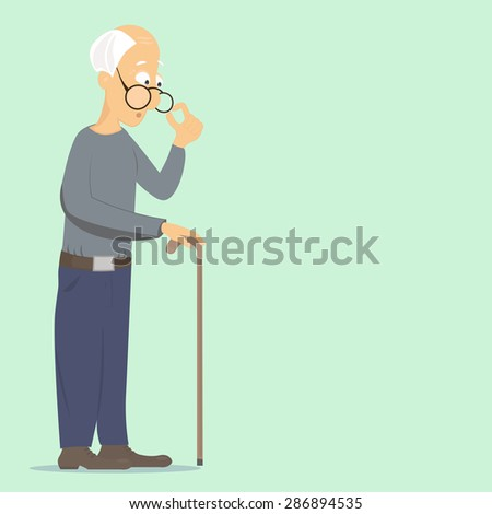 old man corrects glasses and leans on his stick, thinking about everyday problems - stock vector