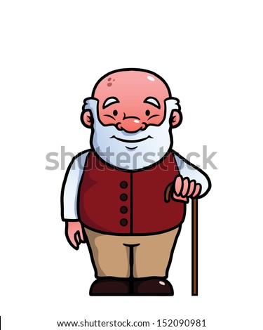 Old man holding a cane and smiling.