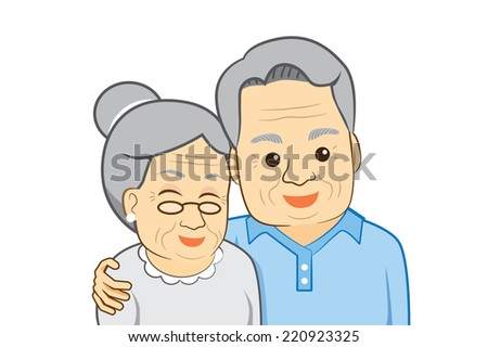 Old man hug old woman that's was happy time