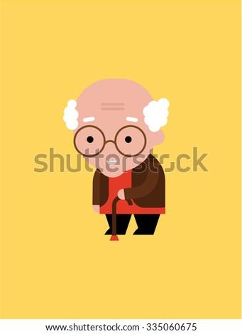old man illustration - stock vector