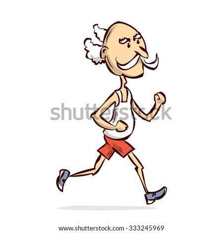 Old man running cartoon