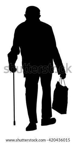 Old man person walking with stick. Vector character isolated on white background. Senior mature, old people active life. Old man person walking with stick.  Grandpa vector silhouette. - stock vector